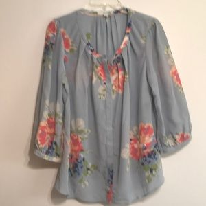 Boden 3/4 sleeve blue floral button up top 8